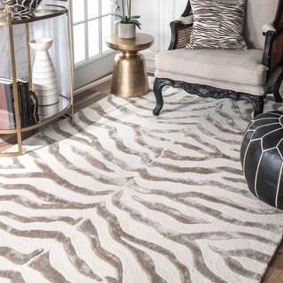 nuLOOM Handmade Zebra Faux Silk/ Wool Grey Rug (8'6 x 11'6)