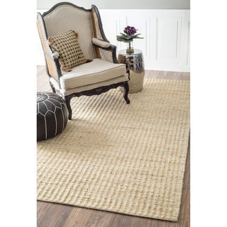 nuLOOM Natural Fiber Solid Handmade Jute/Cotton Rug (5' x 8')