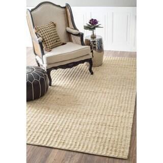 nuLOOM Natural Fiber Solid Handmade Jute/ Cotton Rug (7'6 x 9'6)