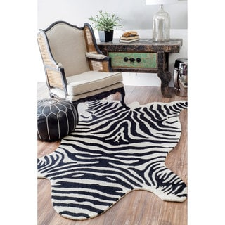 nuLOOM Handmade Animal Print Black and White Zebra Kids Rug (5' x 8')