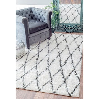 nuLOOM Handmade Soft and Plush Moroccan Trellis Wool Natural Shag Rug (9' x 12')