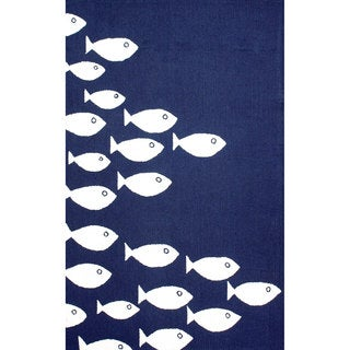 nuLOOM Handmade Modern Fish Indoor/ Outdoor Navy Rug (8' x 10')