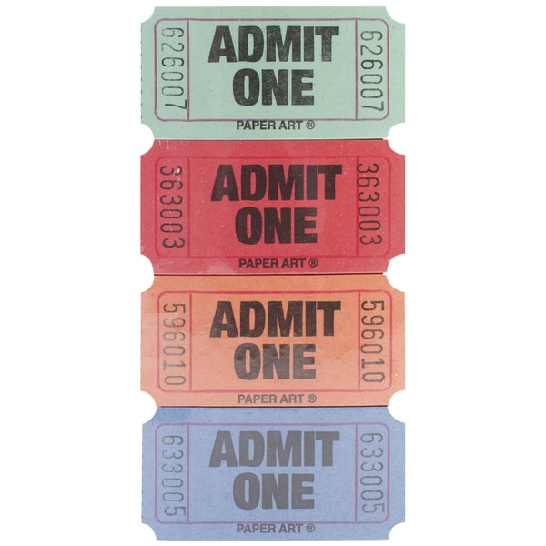 Admit One Tickets 2000 Tickets/RollRed, Blue, Orange & Green