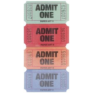 Admit One Tickets 2000 Tickets/RollRed, Blue, Orange & Green