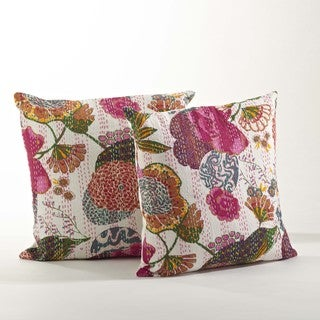 Kantha Stitched Printed Design Pillow Set of 2