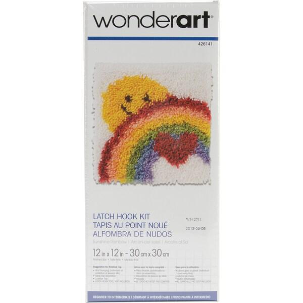 Wonderart Latch Hook Kit 12inX12inSunshine Rainbow