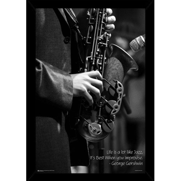 Jazz Poster (24-inches x 36-inches) with Contemporary Poster Frame