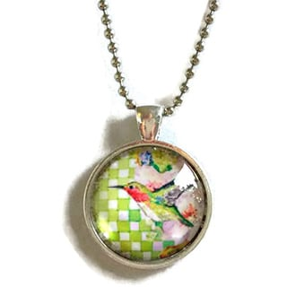 Atkinson Creations Hummingbird with Gingham Checks Glass Dome Necklace