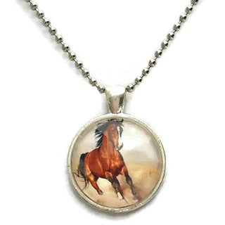 Atkinson Creations Running Horse Glass Dome Necklace
