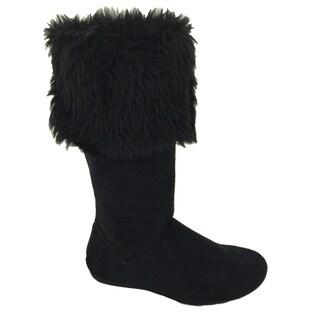 Women's Suede Faux Fur Lined Flat Boots