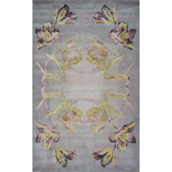 Handmade Wool Alyssa-Grey Rug (5' x 8')