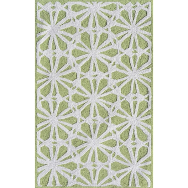 Handmade Polyester Connie Green Rug (4.7' x 7.7')