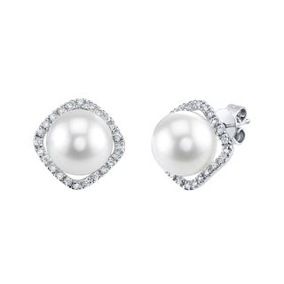 Radiance Pearl 14k White Gold White South Sea Pearl 1/6ct TDW Diamond Earrings (9-10 mm)