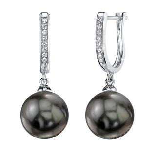 Radiance Pearl 14k Gold Tahitian South Sea Pearl 1/10ct TDW Diamond Earrings (10-11 mm)