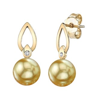 Radiance Pearl 14k Yellow Gold Golden South Sea Pearl Diamond Accent Earrings (9-10 mm)