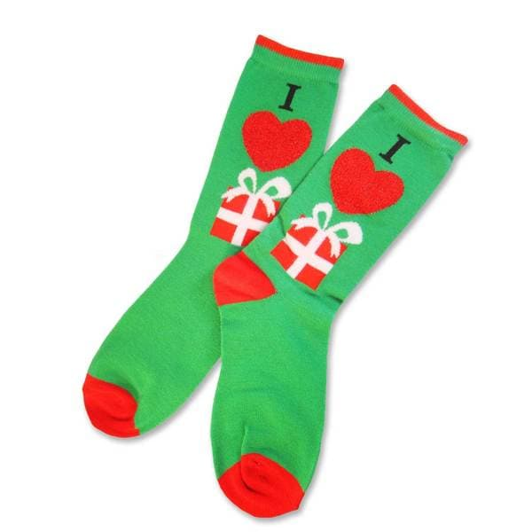 Teehee Women's Christmas/ Holiday I Love Presents Crew Socks