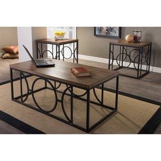 Baxton Studio Palmer Vintage Industrial Bronze 3-piece Coffee and End Tables Set