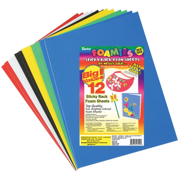 Sticky Back Foam Sheets 9inX12in 12/PkgBasic Colors