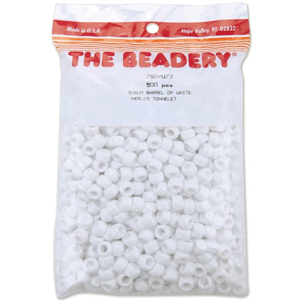 Pony Beads 6mmX9mm 900/PkgOpaque White