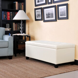 Better Living Cream Renu Leather Tufted Bench Storage Ottoman