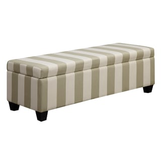 Better Living Blane Cream and Tan Stripe Wall Hugger Trunk Storage Ottoman