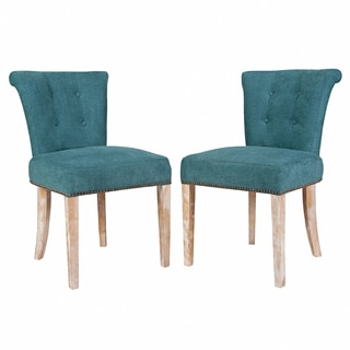 Better Living Lambert Teal Blue Velvet Upholstered Armless Dining Chair (Set of 2)