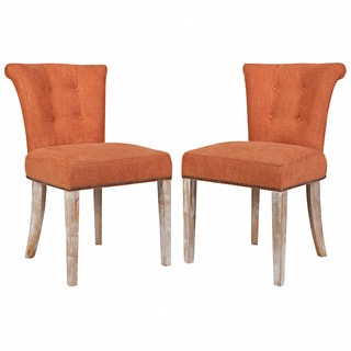 Better Living Lambert Orange Rust Velvet Upholstered Armless Dining Chair (Set of 2)