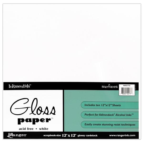 Glossy Cardstock 12inX12in 10/PkgWhite