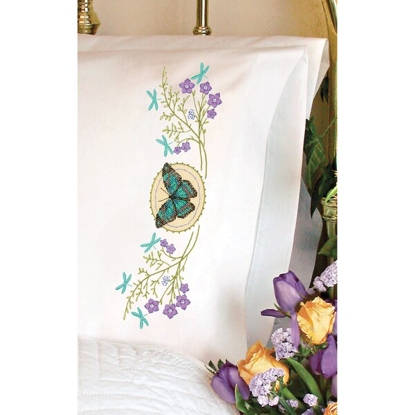 Stamped Cross Stitch Pillowcase Pair 20inX30inButterfly Meadow