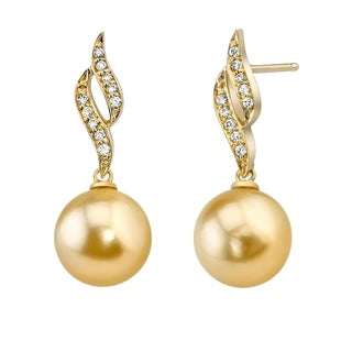 Radiance Pearl 14k Yellow Gold Golden South Sea Pearl 1/6ct TDW Diamond Earrings (10-11 mm)