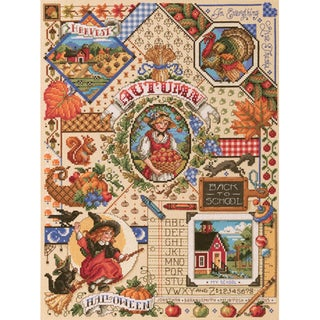 Autumn Sampler Counted Cross Stitch Kit14inX18in 14 Count