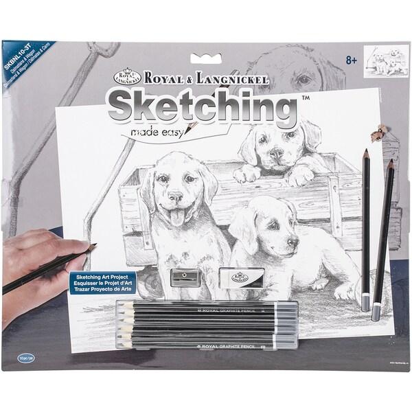 Sketching Made Easy Large Kit 16inX12.75inPuppies & Wagon