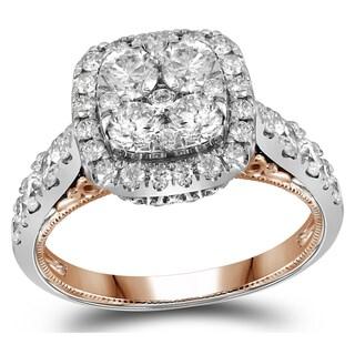 14k Two-tone Gold 2ct TDW Round Diamond Engagement Ring (H-I, I1-I2)
