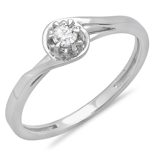 10k White Gold 1/8ct TDW Round-cut Diamond Twisted Solitaire Promise Ring (I-J ,I2-I3)