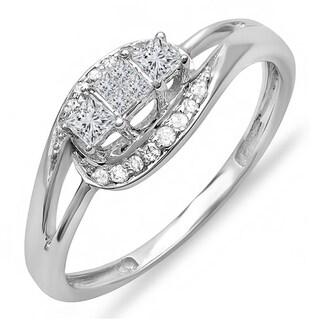 10k White Gold 1/3ct TDW Princess and Round Diamond 3-stone Swirl Split Shank Engagement Ring (H-I, I1-I2)