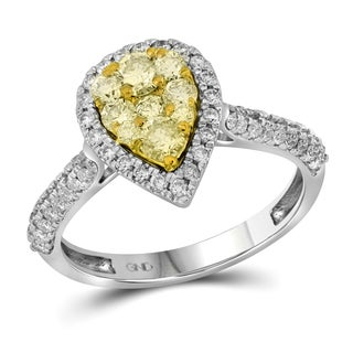 14k White Gold 7/8ct TDW White and Yellow Diamond Pear-shaped Split Shank Engagement Ring (H-I, I1-I2)