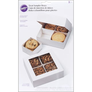 Sampler Boxes W/Removable Trays4 Cavity White 3/Pkg 6.25inXinX2in