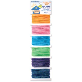 Clubhouse Crafts Elastic CordThick Sparkle 6 Colors W/3yd Each