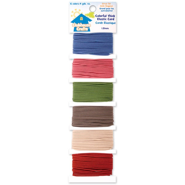 Clubhouse Crafts Elastic CordColorful Thick 6 Colors W/4yd Each