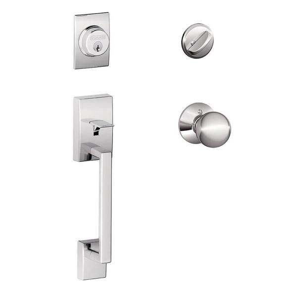 Schlage Century Bright Chrome Handleset with Orbit Interior Knob