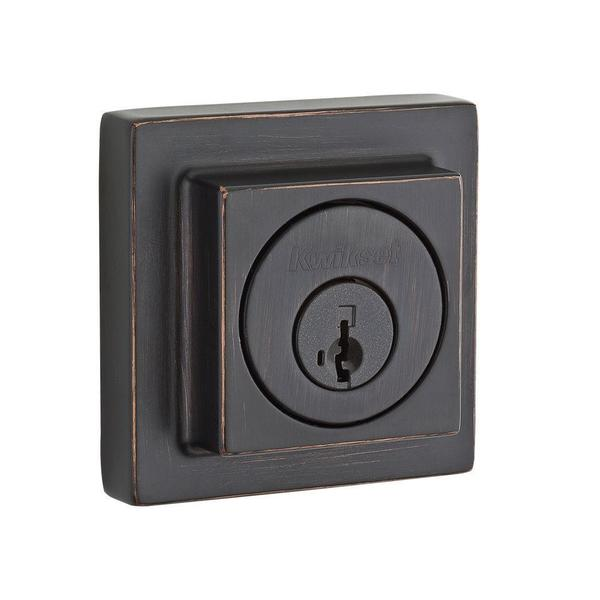 Kwikset 993 Contemporary Single Cylinder Venetian Bronze Square Deadbolt Featuring SmartKey