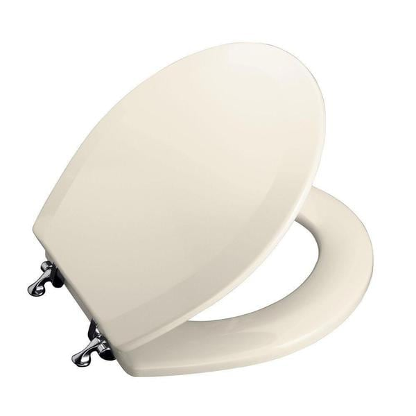 Kohler Triko Molded Round Closed Front Toilet Seat with Cover and Polished Chrome Hinge in Almond
