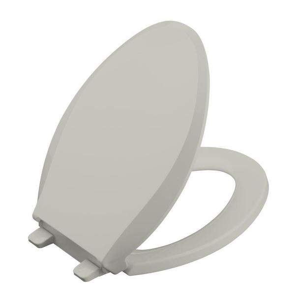 Kohler Cachet Quiet-Close Elongated Closed-front Toilet Seat with Grip-tight Bumpers in Ice Grey