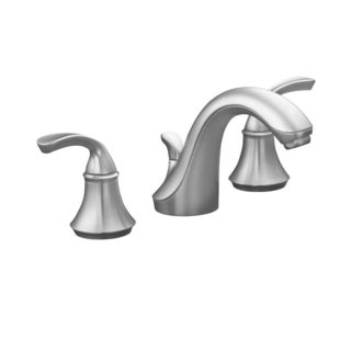 Kohler Forte 8 inch Widespread 2-handle Low-Arc Bathroom Faucet in Brushed Chrome with Plastic Drain - 1.5 GPM