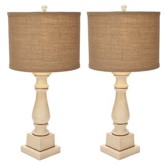 Arianna Antiqued Cream Candlestick Table Lamp - Set of 2