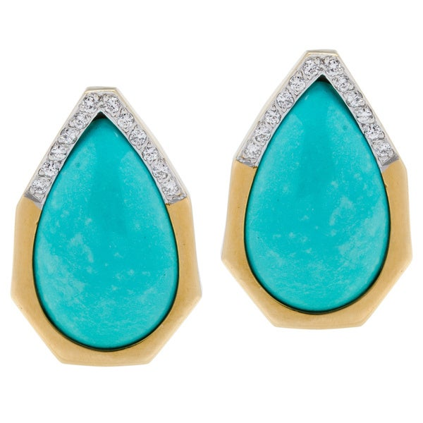 18k Yellow Gold Giant Turquoise and 1/4ct TDW Diamond 1980s Estate Earrings (G-H, VS1-VS2)