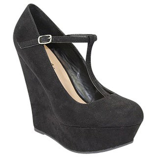 Urban Heels Women's Suede T-Strap Wedge Pump