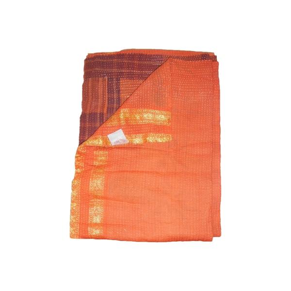 Vintage Handmade Orange Kantha Throw