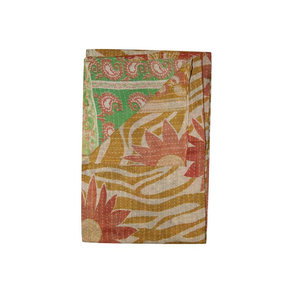Vintage Handmade Yellow and Red Floral Kantha Throw