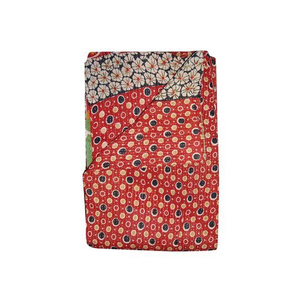 Vintage Handmade Red Polka Dot Kantha Throw